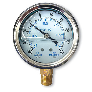 Pressure Gauges - Liquid Filled - Bottom Mount